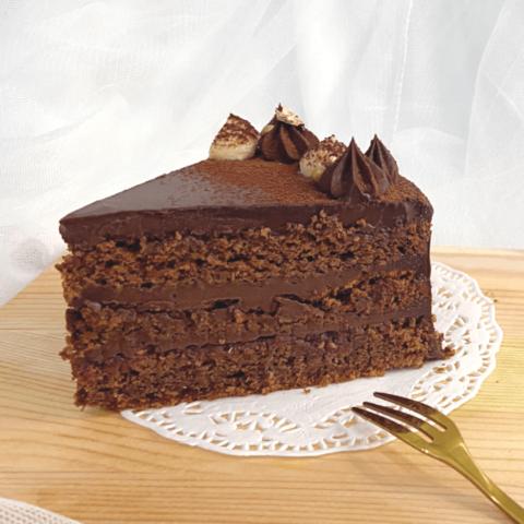 A slice of chocolate raspberry cake