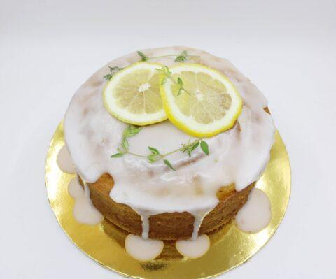 Top view of lemon pound cake.