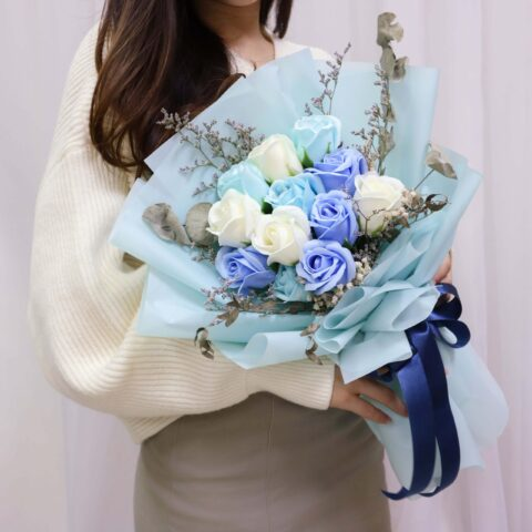 Ocean Blue flower hold by a lady