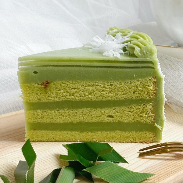 A slice of pandan layer cake