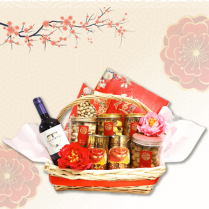 Prosperity box with wine, cookies, abalone and isinglass
