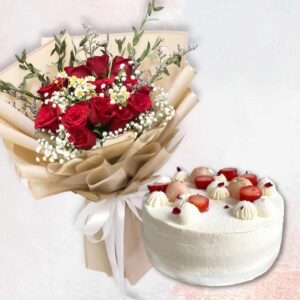 Red rose in golden wrapping and a lychee strawberry cake