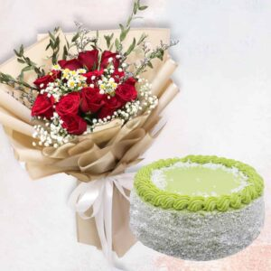 Red rose in golden wrapping and a pandan layer cake