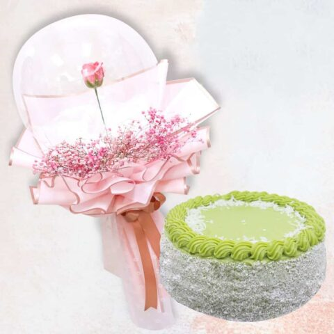 Soap rose in a balloon and a pandan layer cake