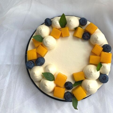 Top View of Mango Passion Fruit Cake