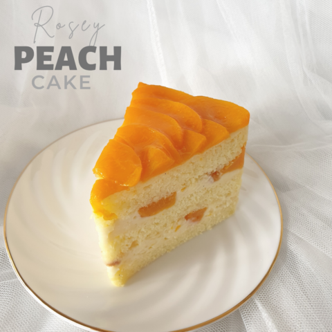 Rosey Peach Cake Slice