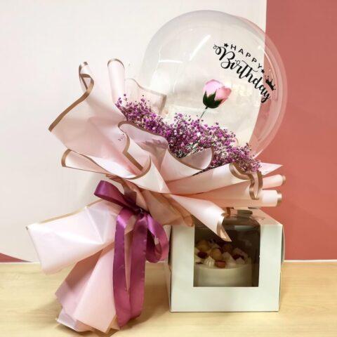 Pandan cake and soap rose in balloon