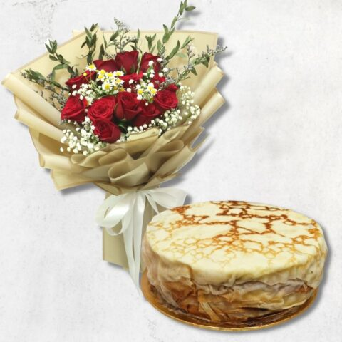 Durian Millecrepe and Red Rose Bouquet