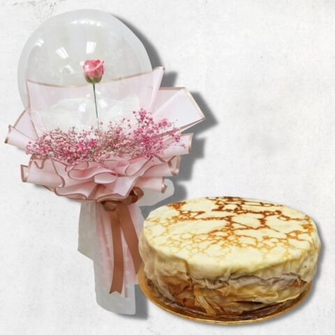 Durian Millecrepe and Soap Rose in Balloon