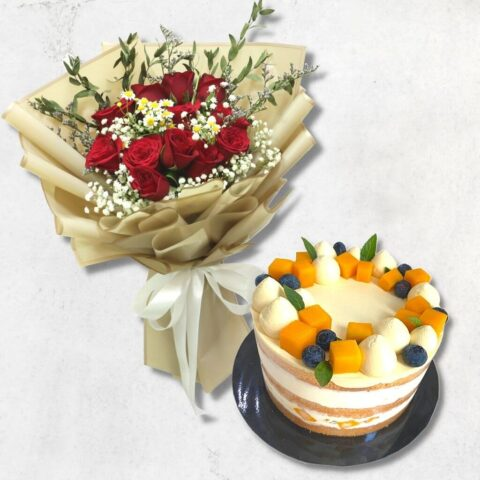 Mango Passion Fruit Cake and Red Rose Bouquet