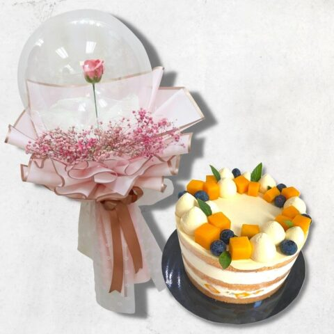 Mango Passion Fruit Cake and Soap Rose in Balloon